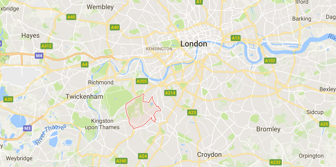 A map of Wimbledon, west London
