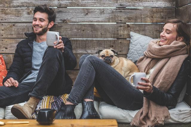 Couple with pug