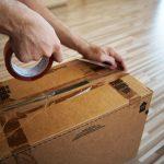 sellotaping a box